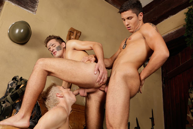 Watch Justin Conway, Rudy Bodlak and Tristan Balboa have bareback sex at Staxus
