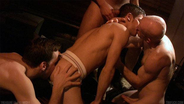 Watch Frank Klein, Kevin Mann, Nikos and Anton Dickson have bareback sex at TIMFuck