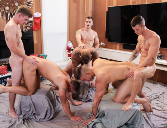 Six Studs Enjoy an Active Duty Bareback Christmas Gang Bang Celebration