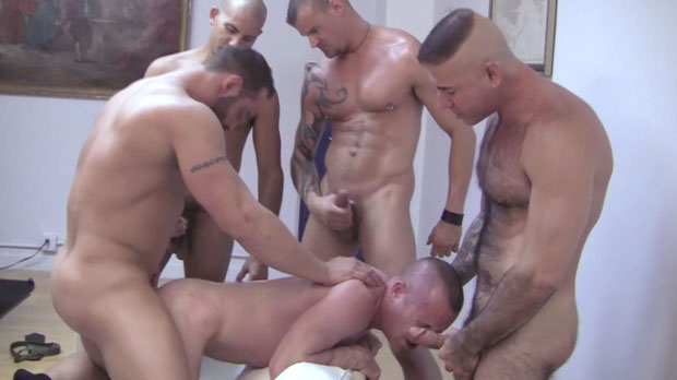 Five Guys Get Together for a Bareback Breeding Gang Bang at Raw Fuck Club