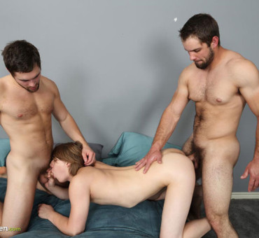Smooth Blond Long-Haired Dude gets Dominated by Two Hairy Studs