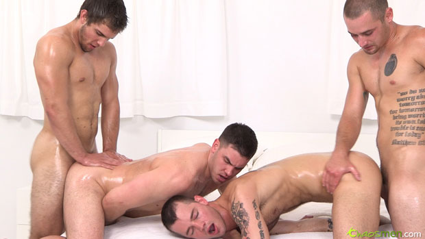 Creamy Surroundings, Massage Oil and Four Horny Guys Equals Hot Bareback Sex