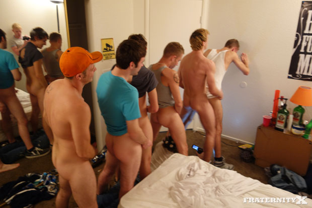 Horny Frat Guys Line Up to Bareback a New Guy in the Ass
