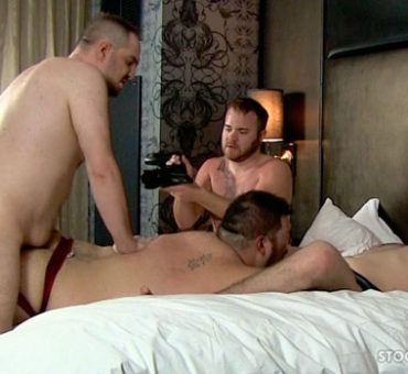 Four Stocky Dudes Enjoy a Bareback Sex Jockstrap Hotel Hookup