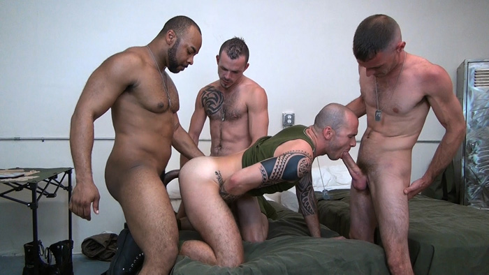 Drunken Night at the Army Barracks Leads to an Intense Bareback Gangbang
