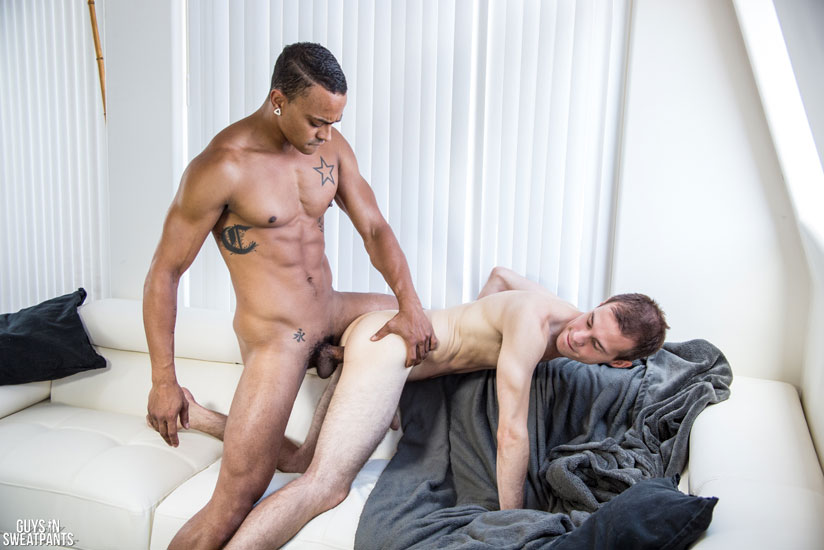 Sexy Stud Returns to Guys in Sweatpants to Bareback a Newbie and Breed His Asshole