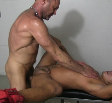 Stud on the Fuck Bench at the Sex Club gets Barebacked and Bred