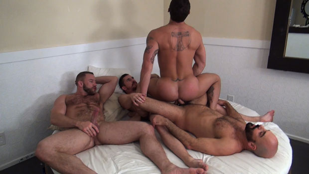 Tate Ryder gets his Ass Drilled and Filled by Three Horny Tops