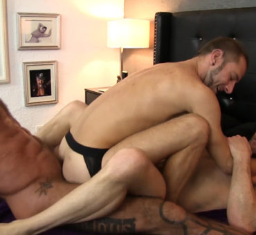 Cum Gets Fucked Up a Freshly Barebacked Ass by Three Studs Who Enjoy Swapping Loads