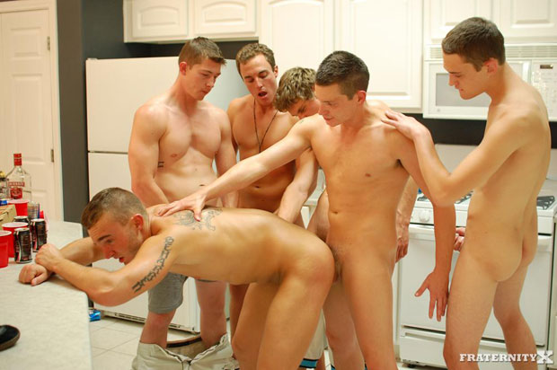 One Lucky Jock gets his Ass Fucked Bareback by Five Horny Guys at FraternityX