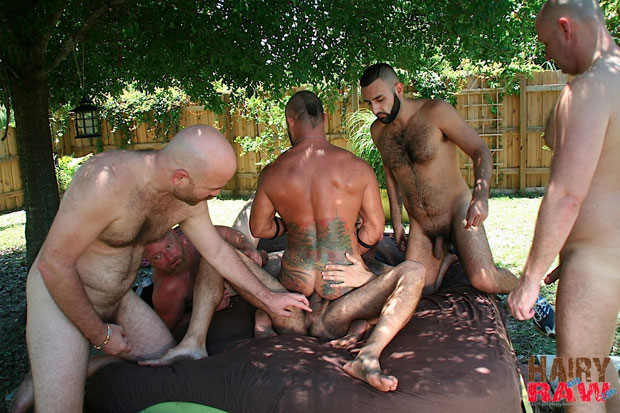 Six Horny and Hairy Guys Enjoy an Afternoon Bareback Gangbang in Florida