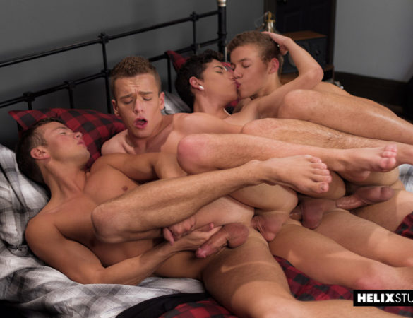 Three Creamy Loads Pass Through the Glazed Lips of a Cum Hungry Twink