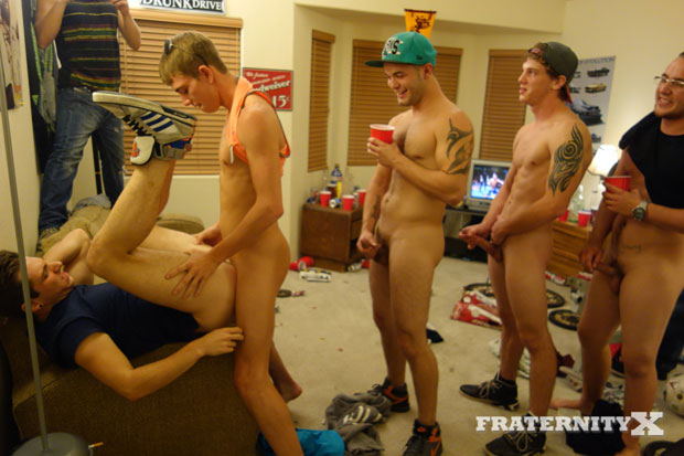 French Foreign Exchange Student gets Bred by a Bunch of Horny College Guys