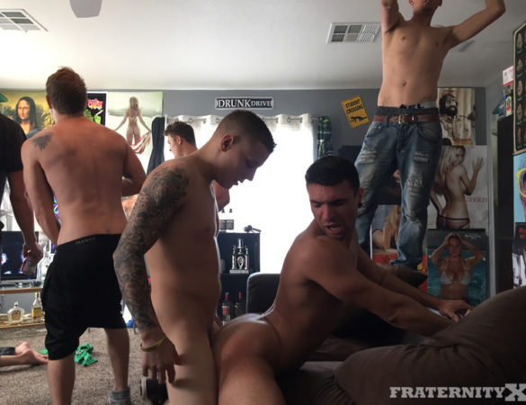 Fresh College Meat Arrives at FraternityX for Intense Bareback Gangbang Fun
