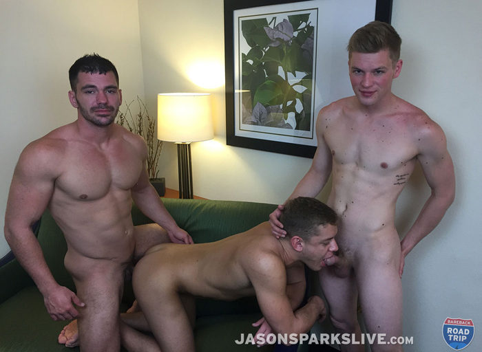 One Guy gets Loaded with Cum After Three Guys Enjoy Bareback Sex Together