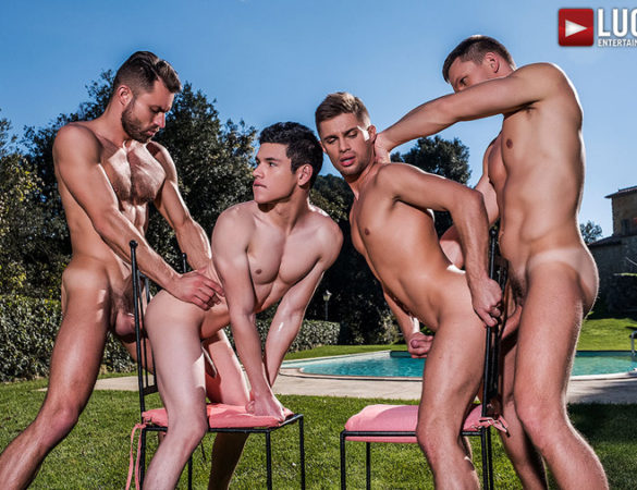 New Lucas Entertainment Exclusive Twink Model Barebacked by Alpha Males