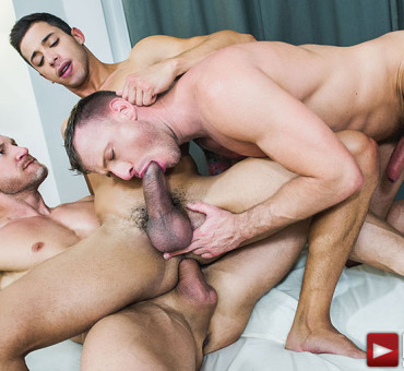 The Asses of Three Horny Guys get Barebacked and Juicy at Lucas Entertainment
