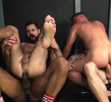 Four Horny Dudes Hookup for a Bareback Sex Fuckfest at a Gloryhole