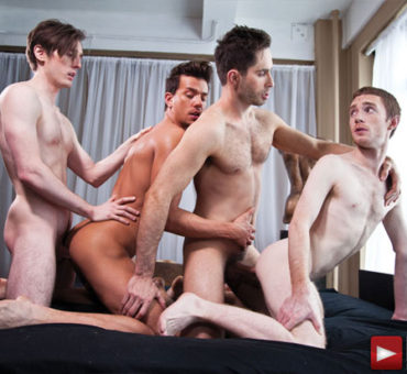 Michael Lucas Appears in a Sizzling Four Guy Bareback Sex Orgy