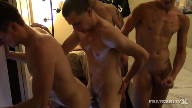 Three Horny College Guys Bareback and Breed Another Dude's Ass