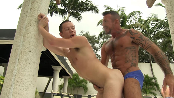 Refreshing Poolside Bareback Encounter Leads to a Sticky Breeding Climax
