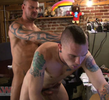 Two Guys Have Bareback Sex in a Messy Office at Dudes Raw