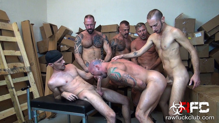 Store Room Filled with Boxes Becomes the Perfect Place for a Bareback Gang Bang