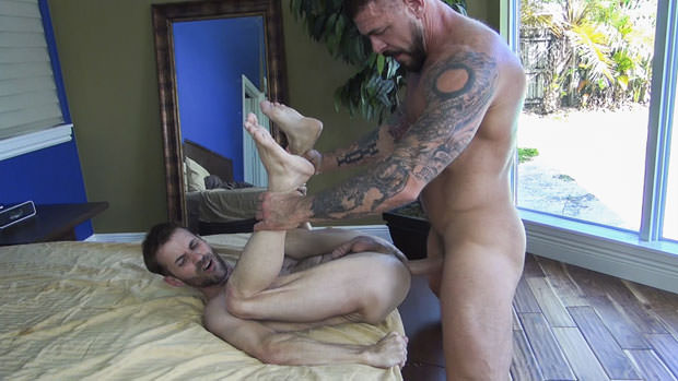 Super Bottom Takes the Stiff Thick Dick of Steele Inside His Ass Bareback