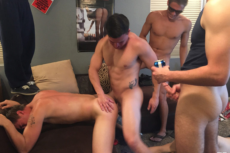 Small Dick Creates a Big Problem for a College Dude Who gets Barebacked by His Bros