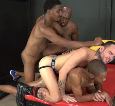 Four Horny Guys Experience Raw Pleasure Creating a Bareback Black and White Sandwich
